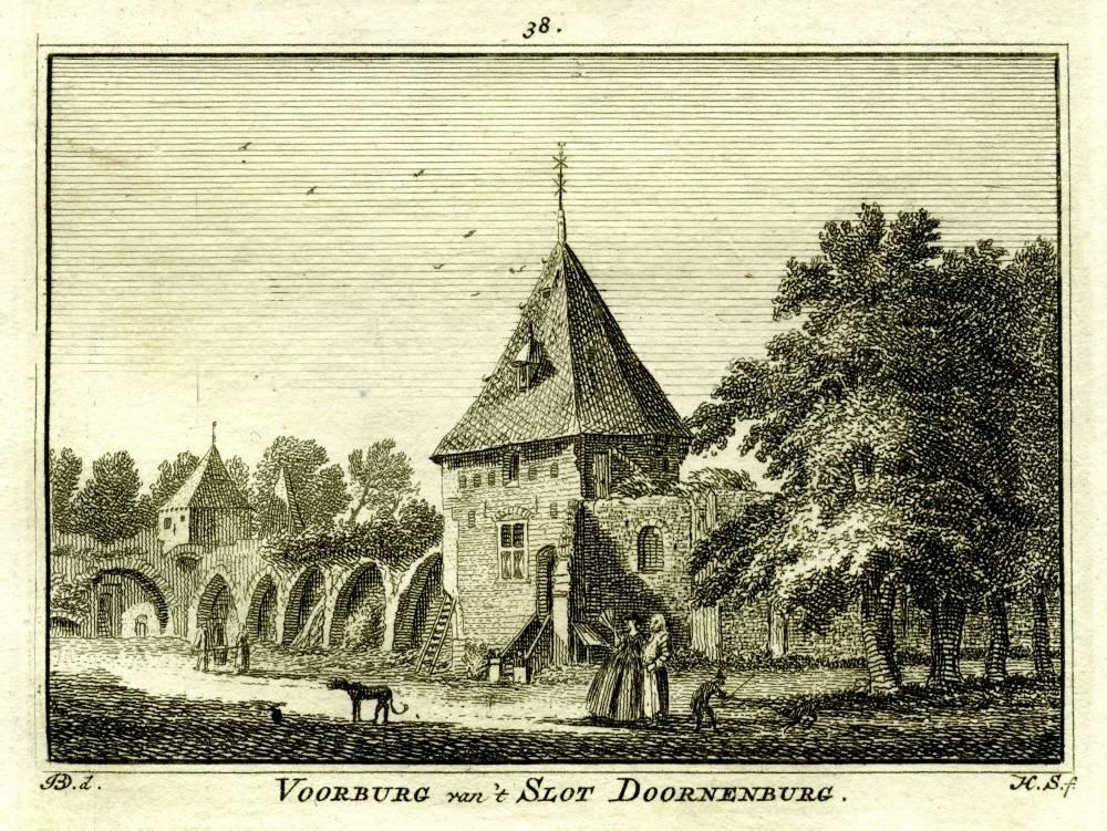 Kasteel Doornenburg in Doornenburg. Tekening Jan de Beijer, gravure Hendrik Spilman (Uit: Het Verheerlykt Nederland, Isaac Tirion, 1745/1774)